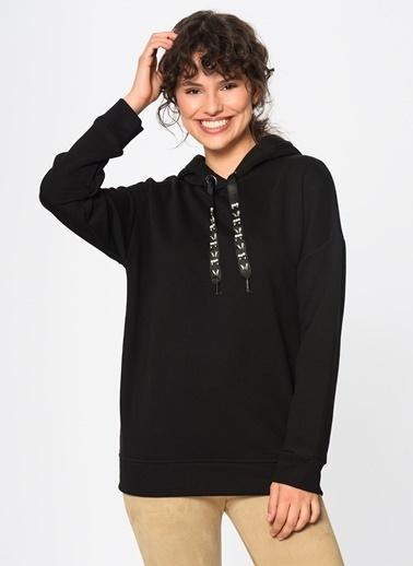 Loves You Kapüşonlu Taş Detaylı Loose Fit Sweatshirt Siyah